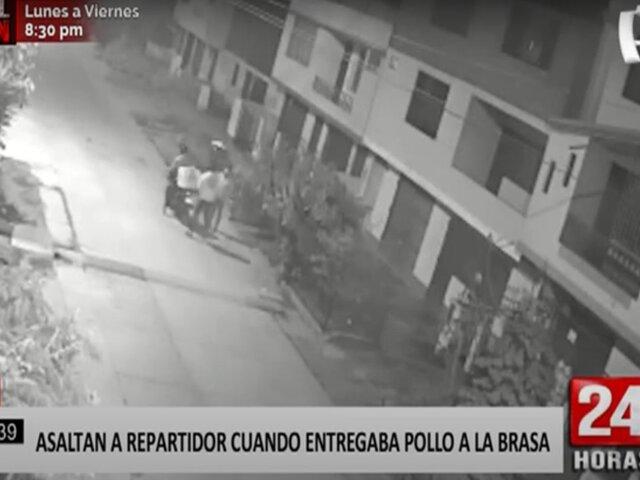 Ate: delincuentes roban moto a repartidor de pollos a la brasa
