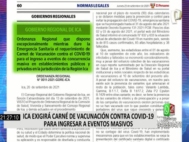 Ica: promulgan ordenanza que exige carnet de vacunación en locales y eventos