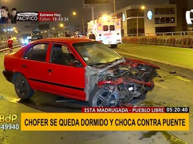 Pueblo Libre: Chofer salvó de morir tras chocar contra puente en av. La Marina