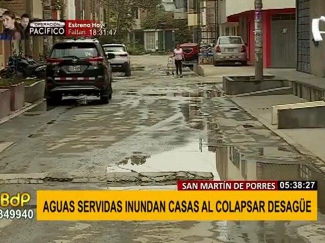 Aniego en SMP: aguas servidas inundan viviendas tras colapso de desagüe