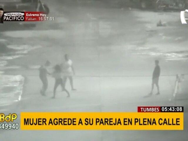Tumbes: mujer es captada agrediendo a su pareja en plena calle