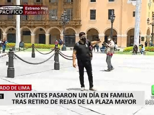 Cercado de Lima: retiran rejas que rodeaba la Plaza de Armas