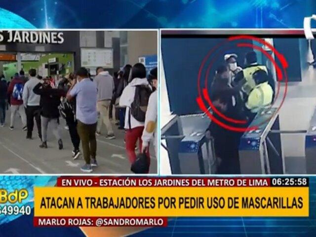 Metro de Lima: usuarios golpean a trabajadores por pedir uso correcto de mascarillas