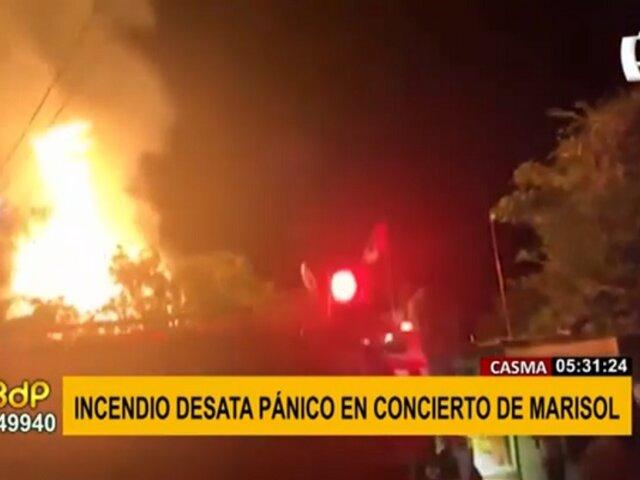 Incendio en Casma: pánico entre asistentes del concierto de Marisol