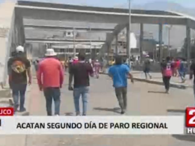 Huánuco: acatan segundo día de paro contra gobierno regional