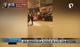 VES: seis heridos tras violento choque de auto con mototaxi