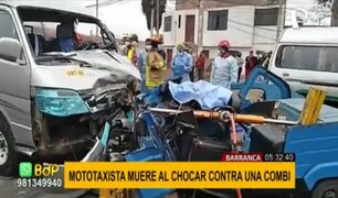 Accidente en Barranca: mototaxista muere tras chocar violentamente con combi