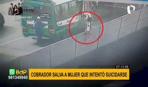 SMP: cobrador salva a mujer que intentó lanzarse desde bypass en la Panamericana Norte