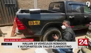 SJL: hallan 19 vehículos robados y autopartes en taller clandestino