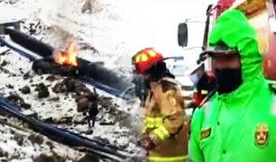 La Oroya: Auto se despista y explota dejando dos muertos