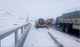 Carretera Central: cierran tránsito vehicular por caída de nieve en Ticlio