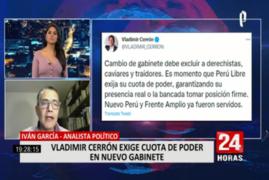 """Iván García sobre postura de Cerrón: """"Aquí hay una manera de ir anunciando una eventual oposición al Ejecutivo"""""""
