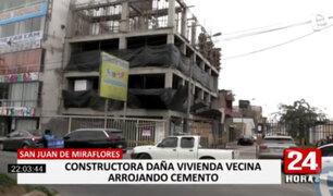 SJM: vecinos denuncian que constructora causa daños en sus viviendas arrojando cemento