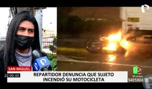 San Miguel: repartidor denunció que un sujeto incendió su moto