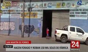 SMP: Hacen forado y roban 150 mil soles de fábrica