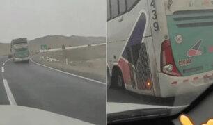 Denuncian que bus de transporte interprovincial viaja inclinado y sin una llanta trasera