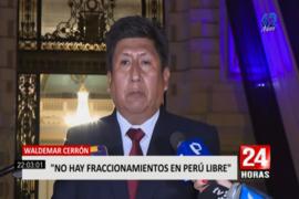 """Waldemar Cerrón sobre bancada Perú Libre: """"No existe ningún fraccionamiento"""""""