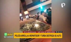 SJM: policía aparentemente ebrio atropella a repartidor e intenta darse a la fuga
