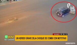 Juliaca: conductor de mototaxi grave tras violento choque contra combi