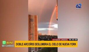¡Deslumbrante! Doble arcoíris llena de colores el cielo de Nueva York