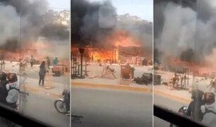 VMT: reportan incendio de grandes proporciones en sector donde se comercializa muebles