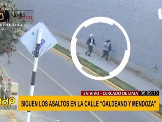 Cercado de Lima: violentos asaltos continúan registrándose en calle Galdeano y Mendoza