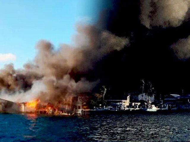 Isla en Honduras es devorada por un gran incendio