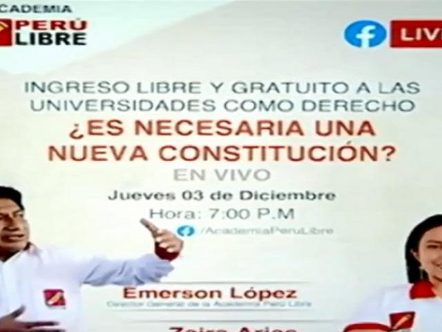 Especialistas advierten que Perú Libre usa academia para hacer proselitismo político