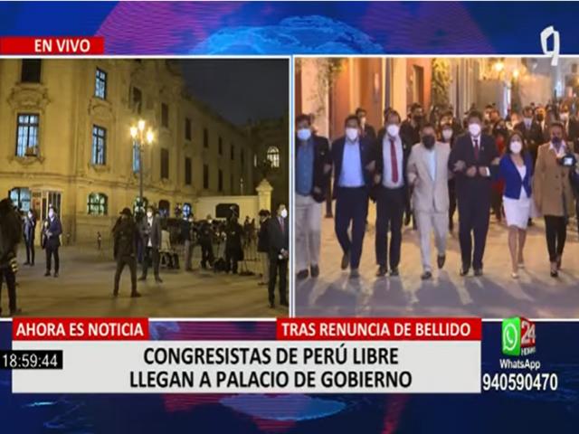 Congresistas de Perú Libre llegaron a Palacio de Gobierno tras renuncia de Bellido