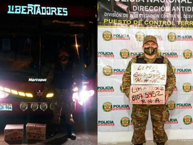 Decomisan más de 8 Kg. de droga en un ómnibus que se dirigía de Ayacucho a Lima