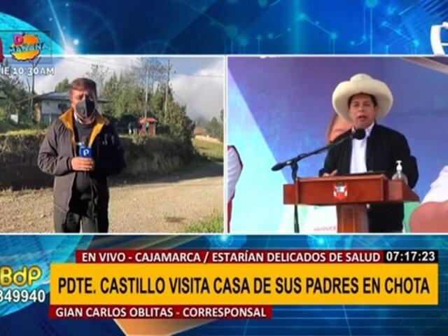 Pedro Castillo viajó a Cajamarca para visitar a sus padres que estarían delicados de salud