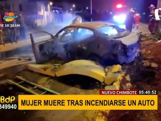 Nuevo Chimbote: mujer muere tras choque e incendio de auto