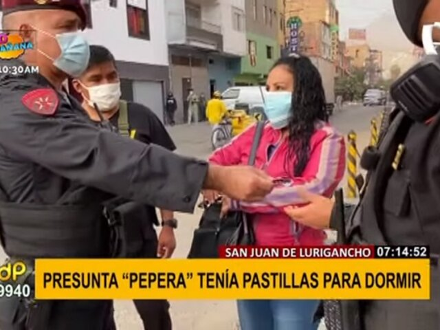 SJL: cae presunta 'pepera' con píldoras que estaba a punto de usar en su siguiente víctima