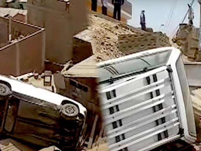 Auto aplasta casa y dueño de inmueble se salva de milagro en Huaycán