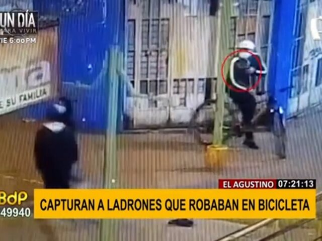 El Agustino: capturan a sujetos armados que robaban a transeúntes a bordo de una bicicleta