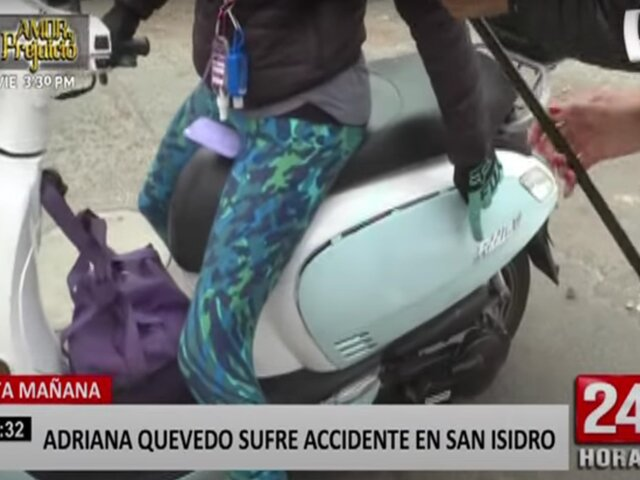 Adriana Quevedo sufrió accidente de tránsito esta mañana en San Isidro