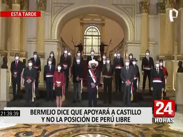 Bermejo afirmó que apoyará a Perú Libre y no será parte de la oposición