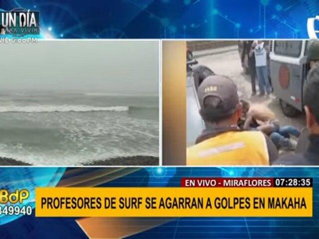 Miraflores: sujetos se agarran a golpes por presunta disputa de alumnos para escuela de surf