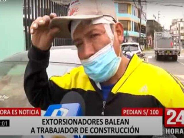 Extorsionadores balean a trabajador de construcción