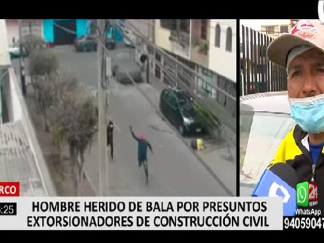 Surco: obrero quedó herido de bala por presuntos extorsionadores que le pedían cupo semanal