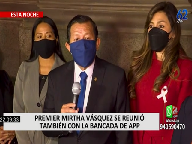 Premier Mirtha Vásquez se reunió con la bancada APP