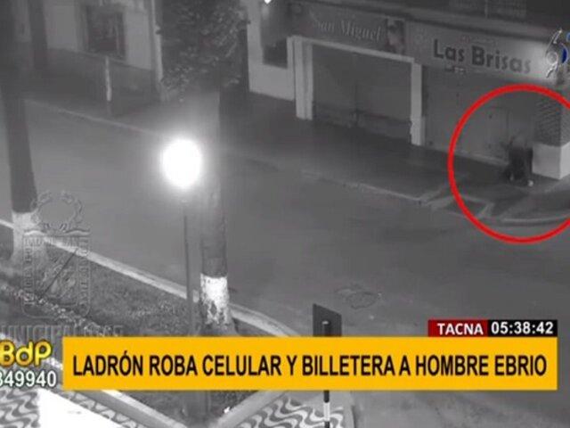 Tacna: sujeto es captado robando celular y billetera a hombre ebrio