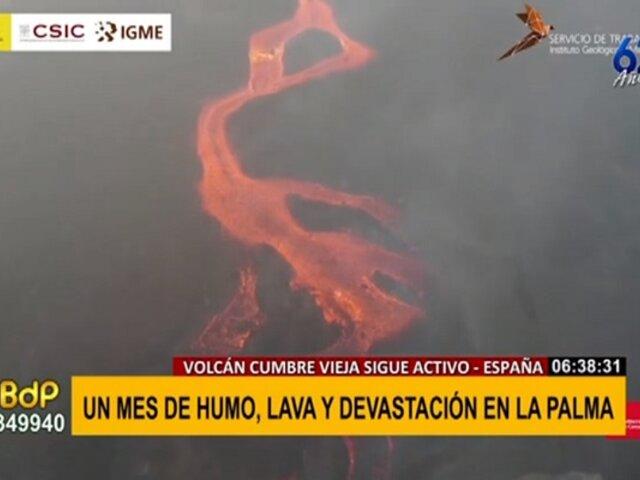 Volcán Cumbre Vieja: un mes de humo, lava y devastación sin final a la vista