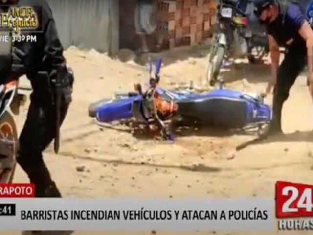 Tarapoto: barristas incendian vehículos y atacan a policías