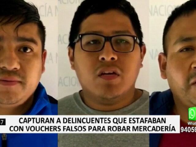 PNP capturó a delincuentes que estafaban con vouchers falsos para robar mercadería