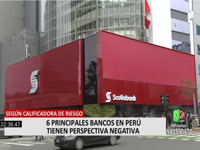 Calificadora de riesgo rebaja de estable a negativa perspectiva de 6 principales entidades financieras en Perú