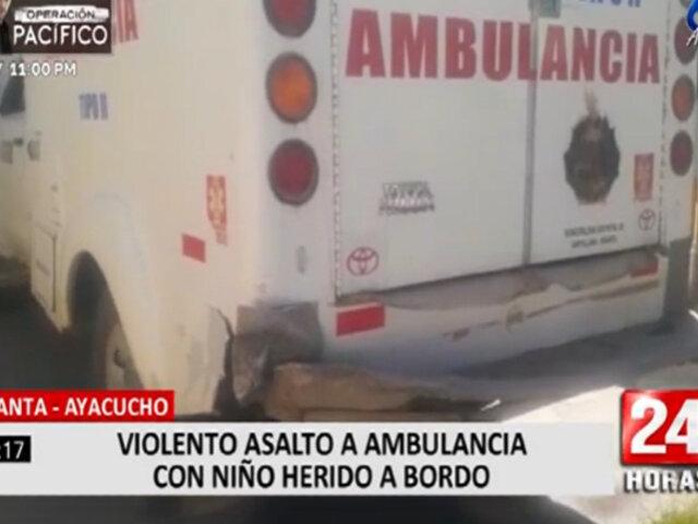Ayacucho: diez sujetos asaltaron ambulancia con paciente a bordo