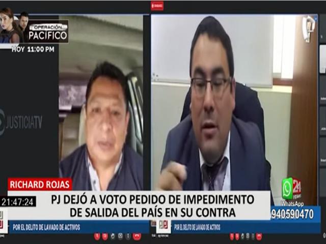 Richard Rojas: PJ dejó a voto pedido de impedimento de salida del país en su contra
