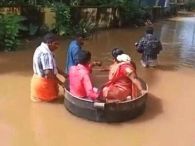India: novios llegaron a su boda flotando en una olla gigante por inundaciones