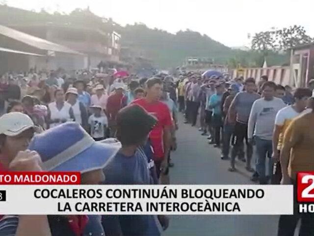 Puerto Maldonado: Carretera Interoceánica continúa bloqueada por paro de cocaleros